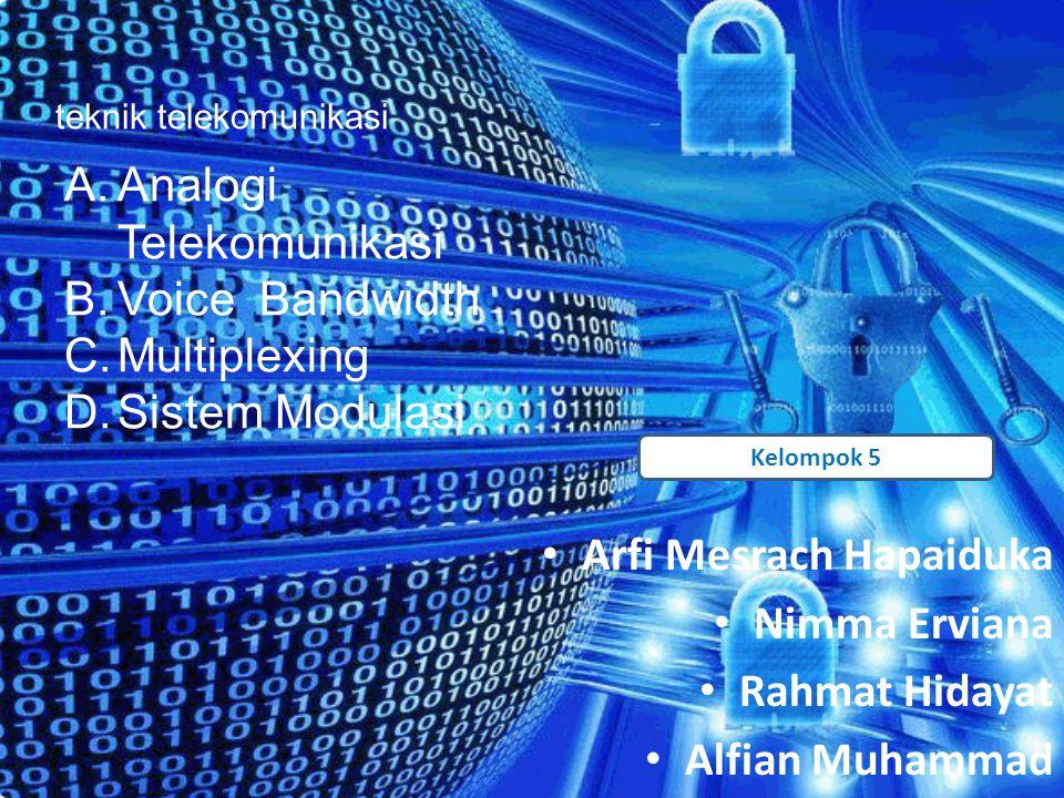 •A•Arfi Mesrach Hapaiduka •N•Nimma Erviana •R•Rahmat Hidayat •A•Alfian Muhammad Kelompok 5 teknik telekomunikasi A. Analogi Telekomunikasi B. Voice Ba