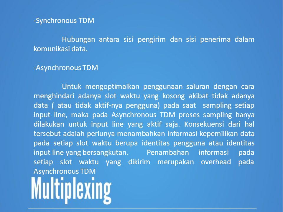 -Synchronous TDM Hubungan antara sisi pengirim dan sisi penerima dalam komunikasi data. -Asynchronous TDM Untuk mengoptimalkan penggunaan saluran deng