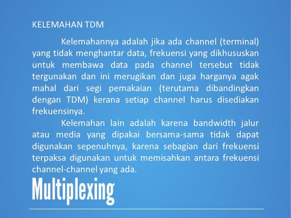 Kelemahannya adalah jika ada channel (terminal) yang tidak menghantar data, frekuensi yang dikhususkan untuk membawa data pada channel tersebut tidak