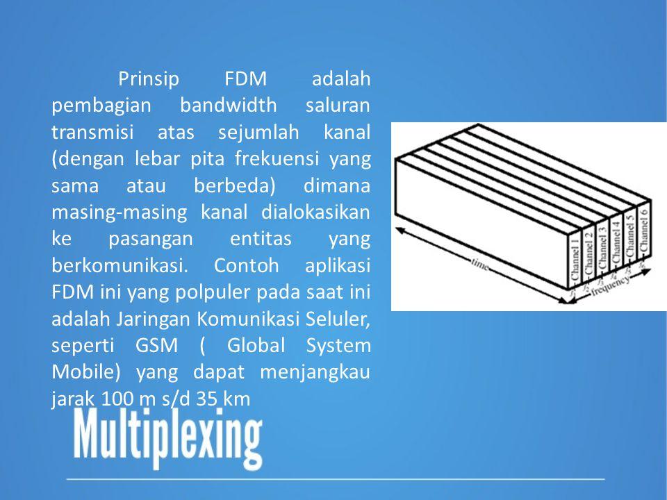 Prinsip FDM adalah pembagian bandwidth saluran transmisi atas sejumlah kanal (dengan lebar pita frekuensi yang sama atau berbeda) dimana masing-masing