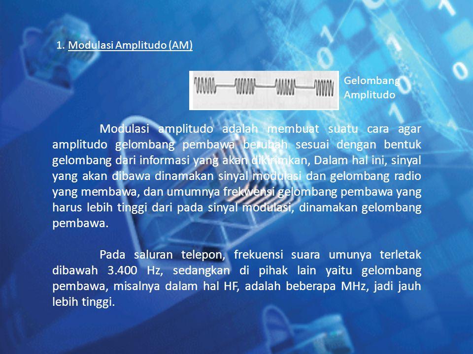 1. Modulasi Amplitudo (AM) Modulasi amplitudo adalah membuat suatu cara agar amplitudo gelombang pembawa berubah sesuai dengan bentuk gelombang dari i