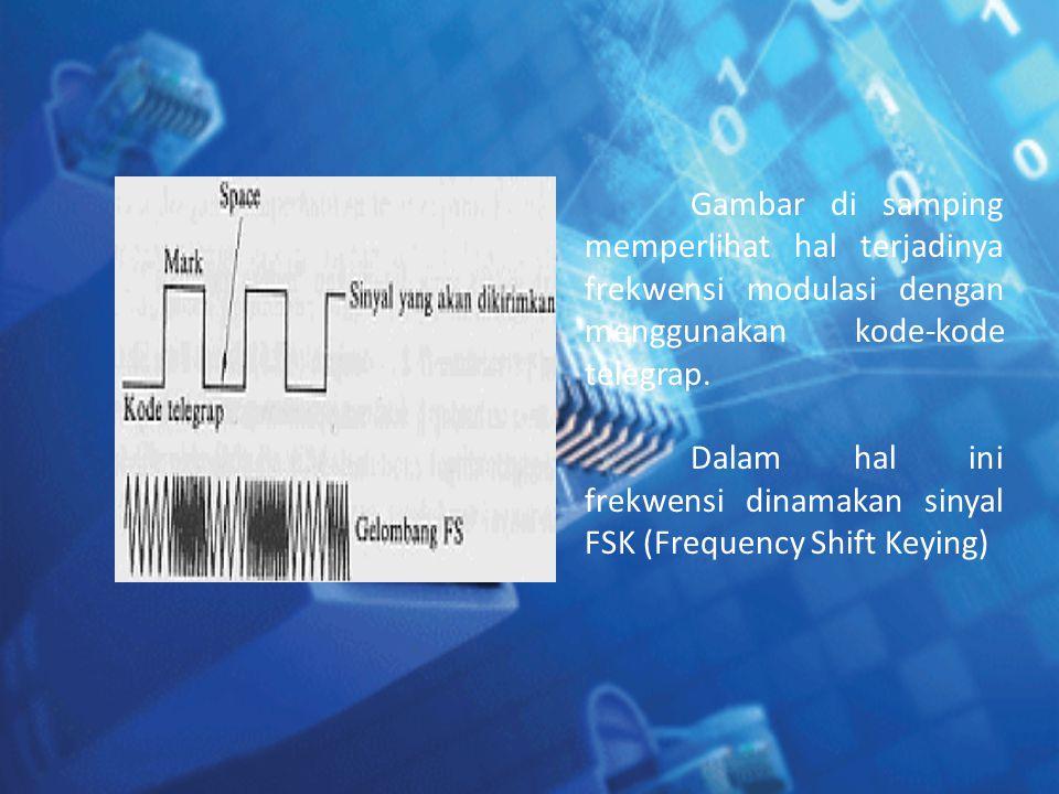 Gambar di samping memperlihat hal terjadinya frekwensi modulasi dengan menggunakan kode-kode telegrap. Dalam hal ini frekwensi dinamakan sinyal FSK (F
