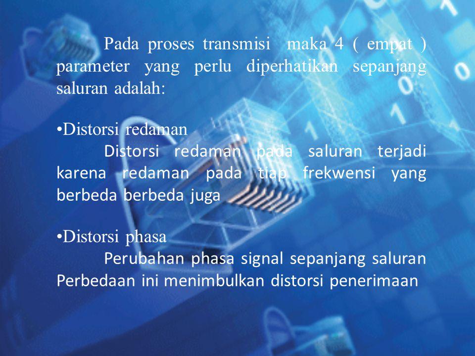 Pada proses transmisi maka 4 ( empat ) parameter yang perlu diperhatikan sepanjang saluran adalah: •Distorsi redaman Distorsi redaman pada saluran ter