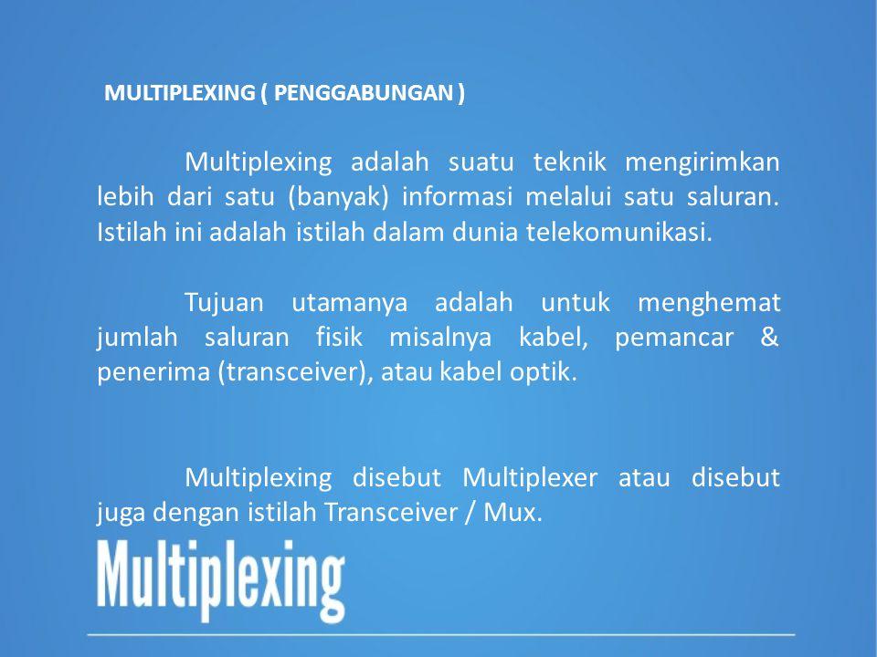 MULTIPLEXING ( PENGGABUNGAN ) Multiplexing adalah suatu teknik mengirimkan lebih dari satu (banyak) informasi melalui satu saluran. Istilah ini adalah