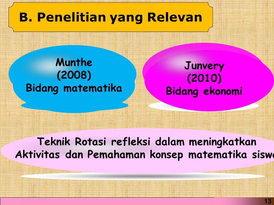 16 01/04/2010 13 Munthe (2008) Bidang matematika Junvery (2010) Bidang ekonomi Teknik Rotasi refleksi dalam meningkatkan Aktivitas dan Pemahaman konsep matematika siswa B.
