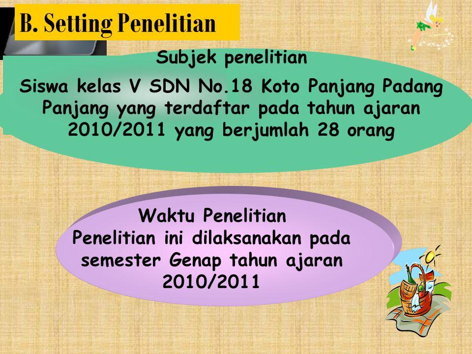 Subjek penelitian Siswa kelas V SDN No.18 Koto Panjang Padang Panjang yang terdaftar pada tahun ajaran 2010/2011 yang berjumlah 28 orang Waktu Penelitian Penelitian ini dilaksanakan pada semester Genap tahun ajaran 2010/2011 B.