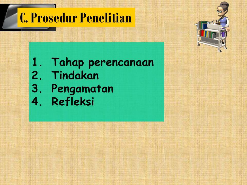 1.Tahap perencanaan 2.Tindakan 3.Pengamatan 4.Refleksi C. Prosedur Penelitian