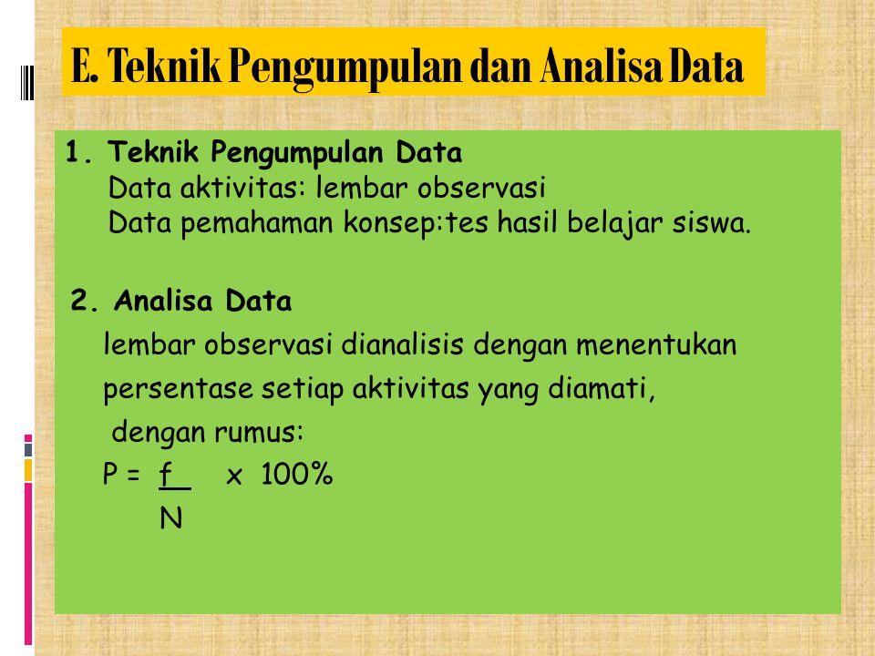 E. Teknik Pengumpulan dan Analisa Data 1.Teknik Pengumpulan Data Data aktivitas: lembar observasi Data pemahaman konsep:tes hasil belajar siswa. 2. An