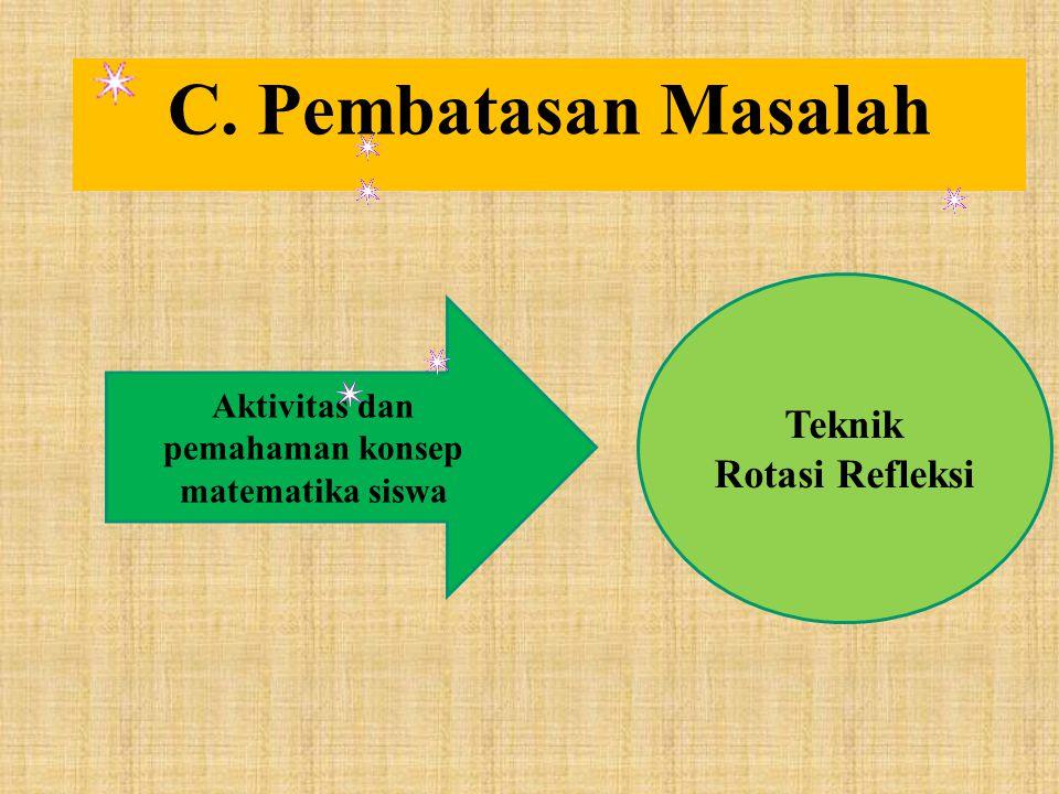C. Pembatasan Masalah Aktivitas dan pemahaman konsep matematika siswa Teknik Rotasi Refleksi