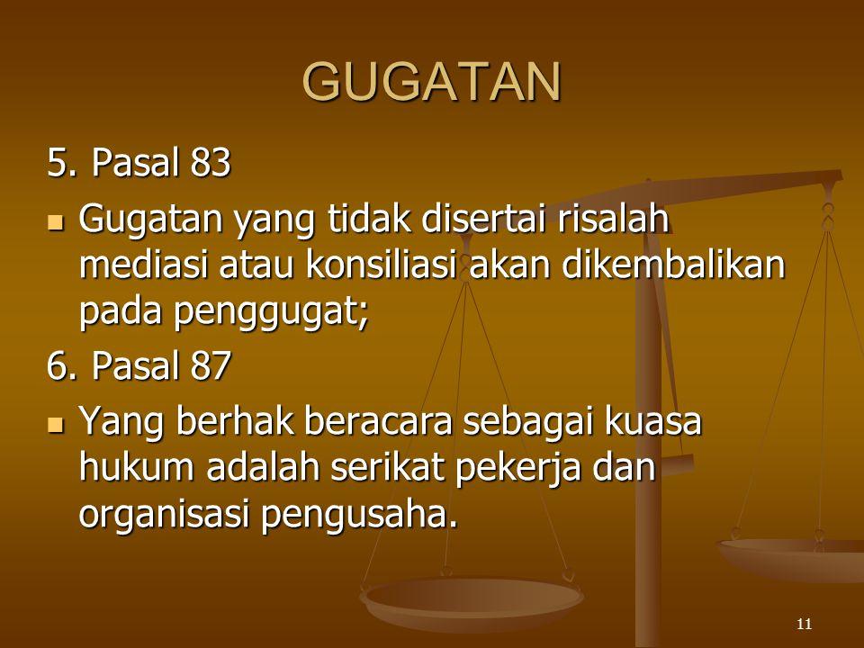 11 GUGATAN 5. Pasal 83  Gugatan yang tidak disertai risalah mediasi atau konsiliasi akan dikembalikan pada penggugat; 6. Pasal 87  Yang berhak berac