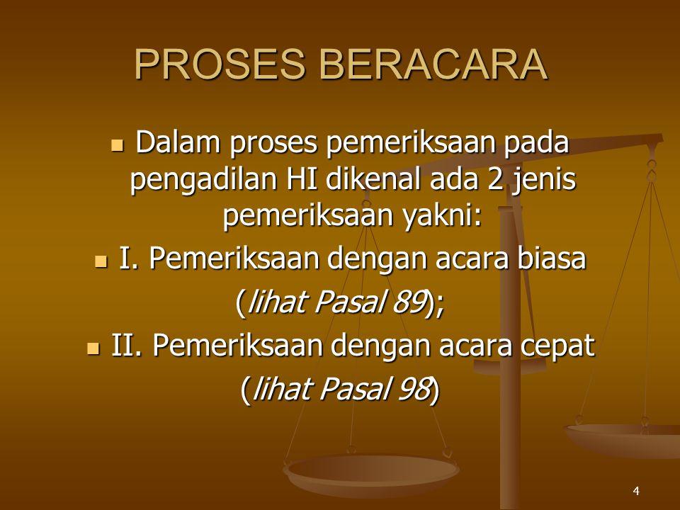 4 PROSES BERACARA  Dalam proses pemeriksaan pada pengadilan HI dikenal ada 2 jenis pemeriksaan yakni:  I. Pemeriksaan dengan acara biasa (lihat Pasa
