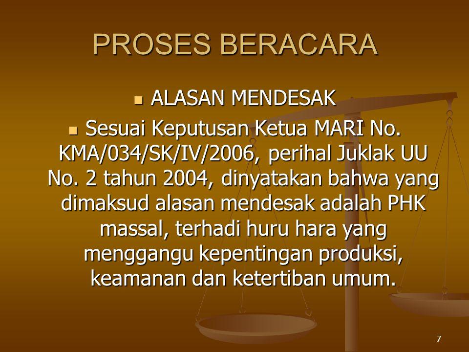 7 PROSES BERACARA  ALASAN MENDESAK  Sesuai Keputusan Ketua MARI No. KMA/034/SK/IV/2006, perihal Juklak UU No. 2 tahun 2004, dinyatakan bahwa yang di