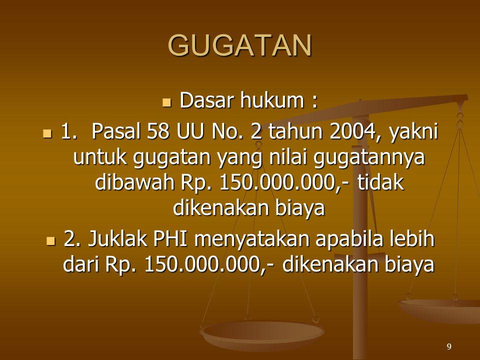 9 GUGATAN  Dasar hukum :  1. Pasal 58 UU No. 2 tahun 2004, yakni untuk gugatan yang nilai gugatannya dibawah Rp. 150.000.000,- tidak dikenakan biaya