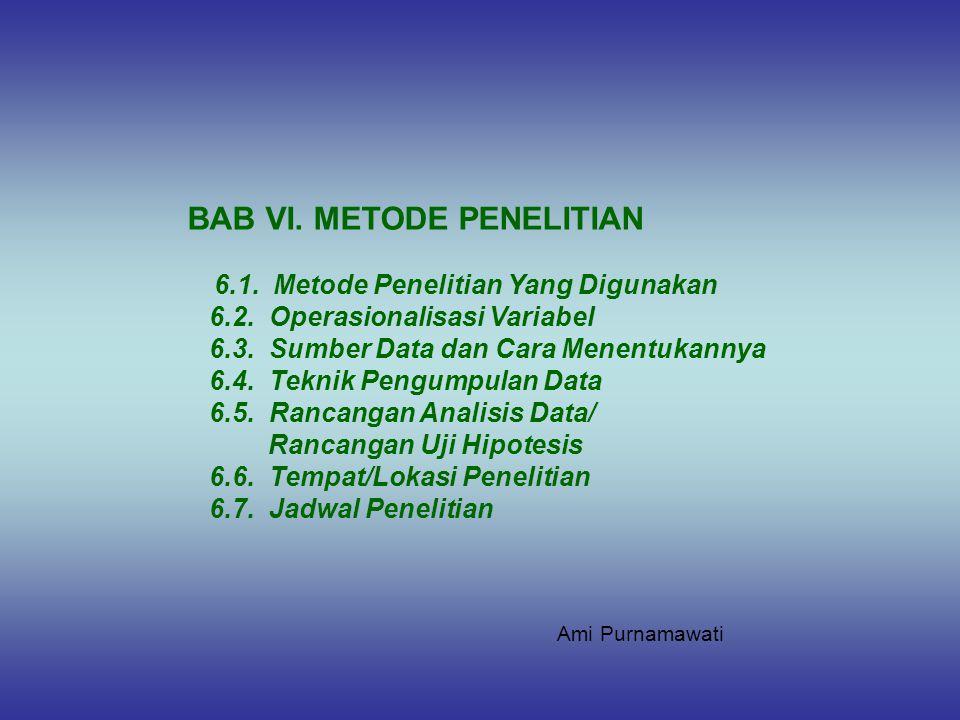 BAB VI. METODE PENELITIAN 6.1. Metode Penelitian Yang Digunakan 6.2. Operasionalisasi Variabel 6.3. Sumber Data dan Cara Menentukannya 6.4. Teknik Pen