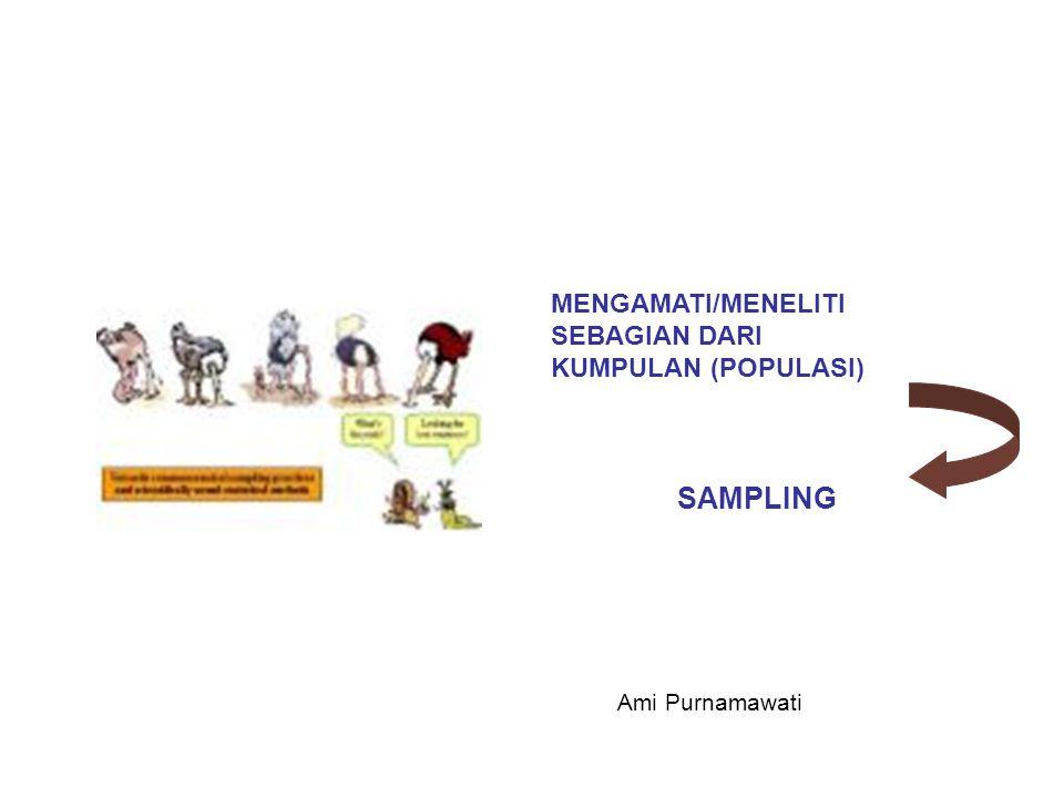 MENGAMATI/MENELITI SEBAGIAN DARI KUMPULAN (POPULASI) SAMPLING Ami Purnamawati