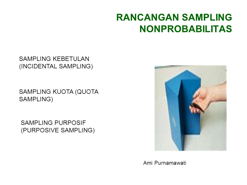 RANCANGAN SAMPLING NONPROBABILITAS SAMPLING KEBETULAN (INCIDENTAL SAMPLING) SAMPLING KUOTA (QUOTA SAMPLING) SAMPLING PURPOSIF (PURPOSIVE SAMPLING) Ami Purnamawati