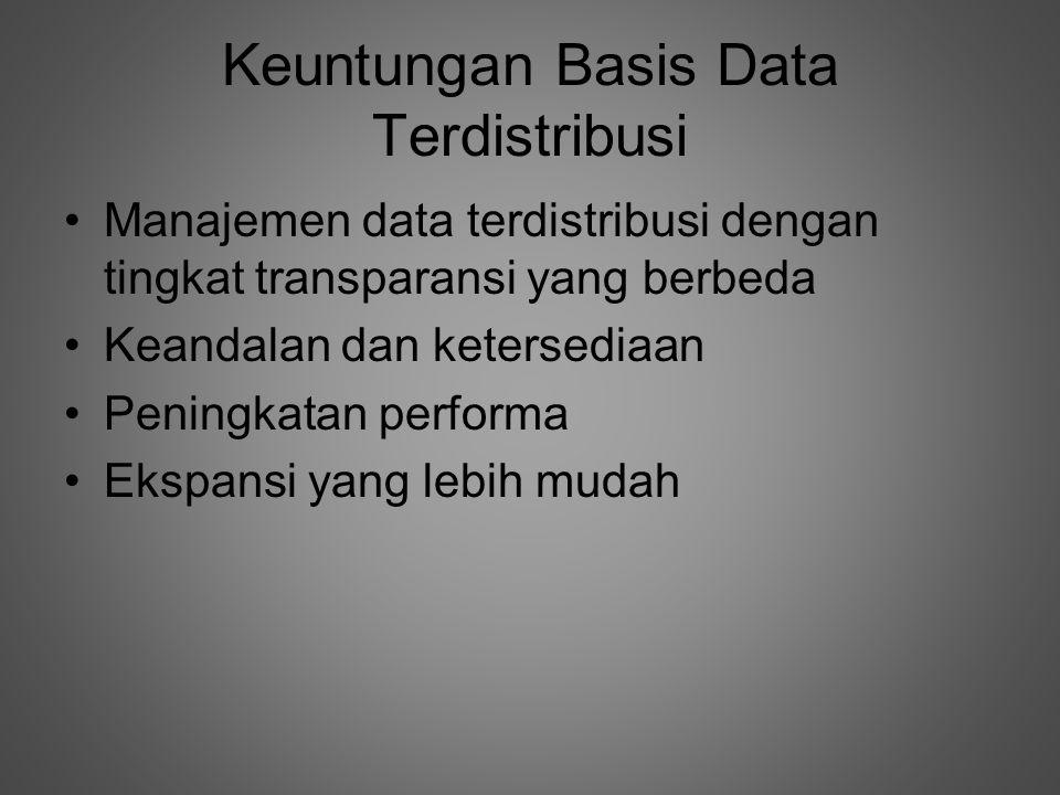 Keuntungan Basis Data Terdistribusi •Manajemen data terdistribusi dengan tingkat transparansi yang berbeda •Keandalan dan ketersediaan •Peningkatan performa •Ekspansi yang lebih mudah