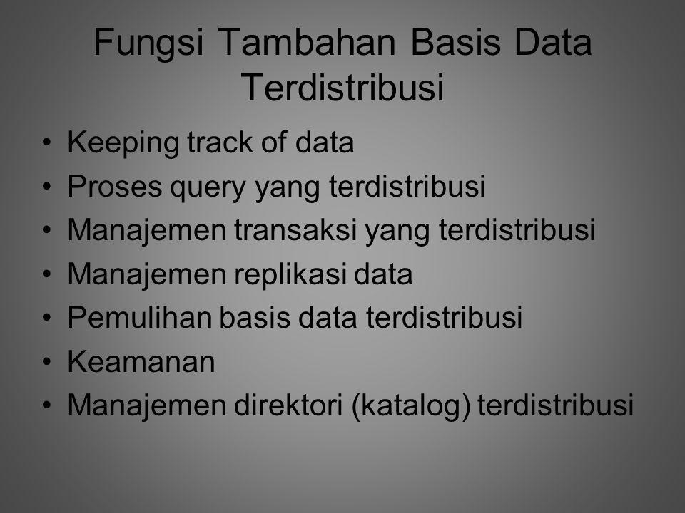 Fungsi Tambahan Basis Data Terdistribusi •Keeping track of data •Proses query yang terdistribusi •Manajemen transaksi yang terdistribusi •Manajemen replikasi data •Pemulihan basis data terdistribusi •Keamanan •Manajemen direktori (katalog) terdistribusi