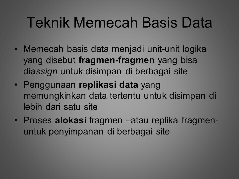 Teknik Memecah Basis Data •Memecah basis data menjadi unit-unit logika yang disebut fragmen-fragmen yang bisa diassign untuk disimpan di berbagai site •Penggunaan replikasi data yang memungkinkan data tertentu untuk disimpan di lebih dari satu site •Proses alokasi fragmen –atau replika fragmen- untuk penyimpanan di berbagai site