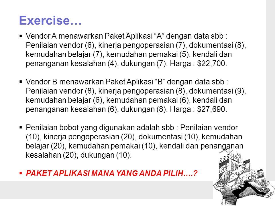 """Exercise…  Vendor A menawarkan Paket Aplikasi """"A"""" dengan data sbb : Penilaian vendor (6), kinerja pengoperasian (7), dokumentasi (8), kemudahan belaj"""