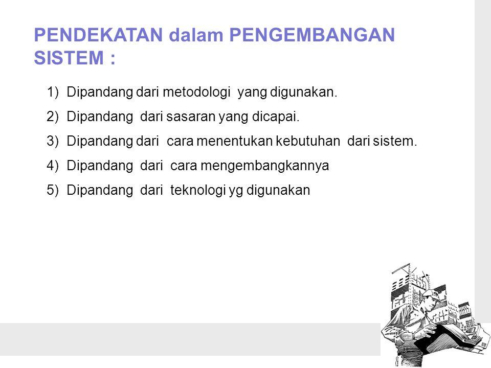 PENDEKATAN dalam PENGEMBANGAN SISTEM : 1) Dipandang dari metodologi yang digunakan.