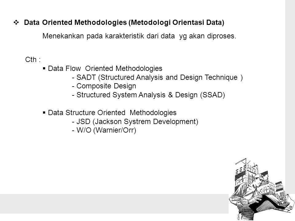  Data Oriented Methodologies (Metodologi Orientasi Data) Menekankan pada karakteristik dari data yg akan diproses. Cth :  Data Flow Oriented Methodo