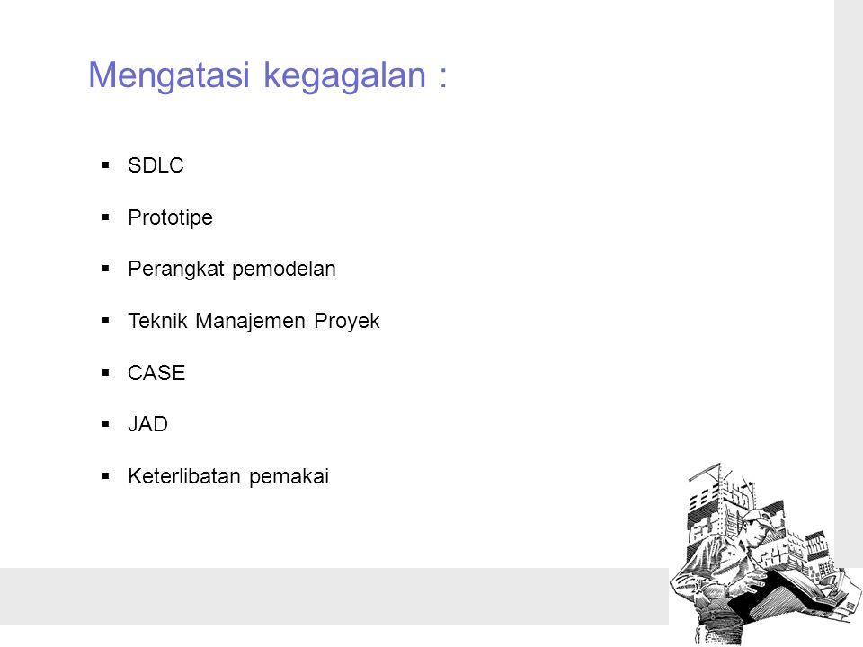 Mengatasi kegagalan :  SDLC  Prototipe  Perangkat pemodelan  Teknik Manajemen Proyek  CASE  JAD  Keterlibatan pemakai