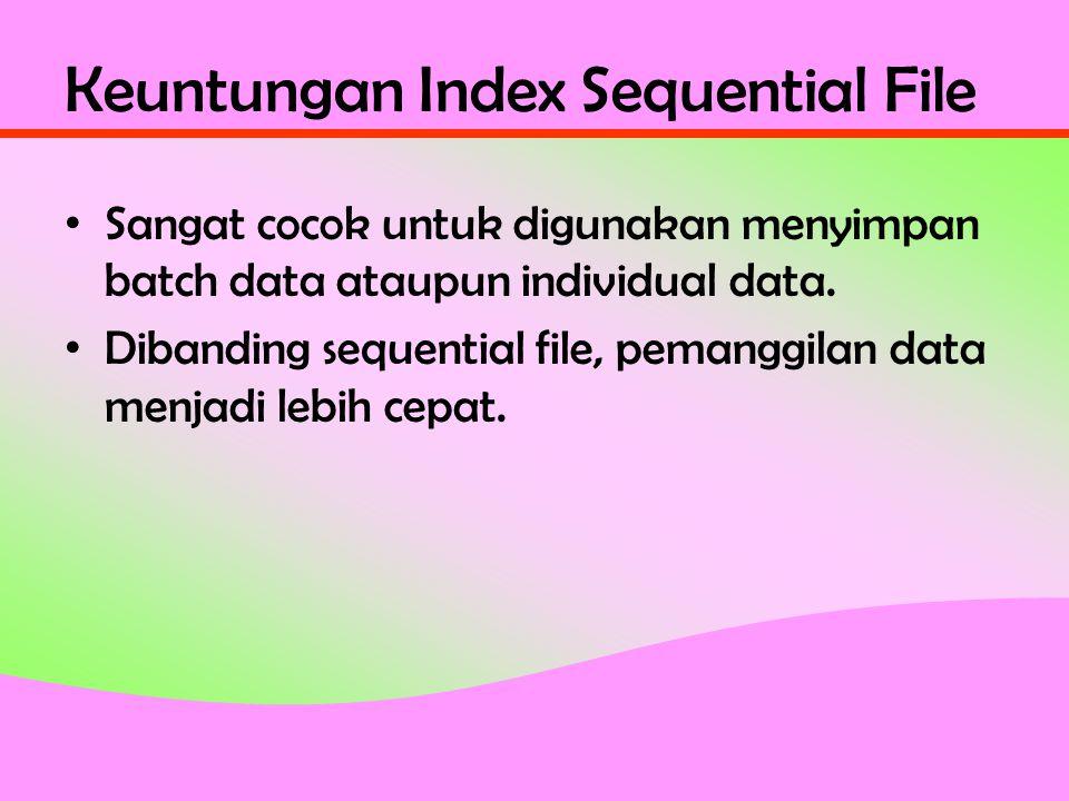 Keuntungan Index Sequential File • Sangat cocok untuk digunakan menyimpan batch data ataupun individual data.