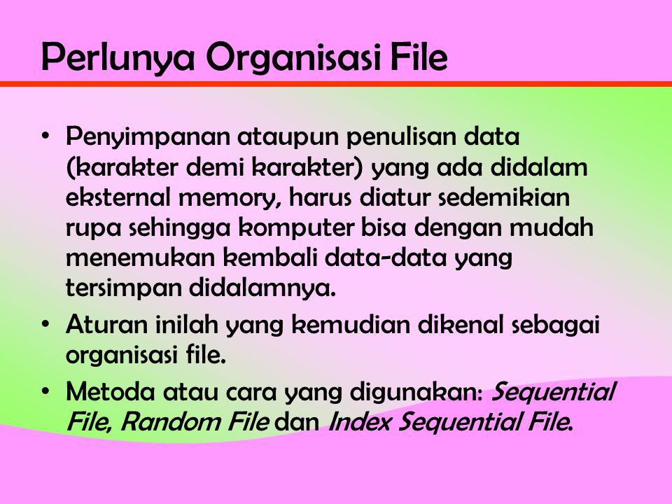 Perlunya Organisasi File • Penyimpanan ataupun penulisan data (karakter demi karakter) yang ada didalam eksternal memory, harus diatur sedemikian rupa sehingga komputer bisa dengan mudah menemukan kembali data-data yang tersimpan didalamnya.
