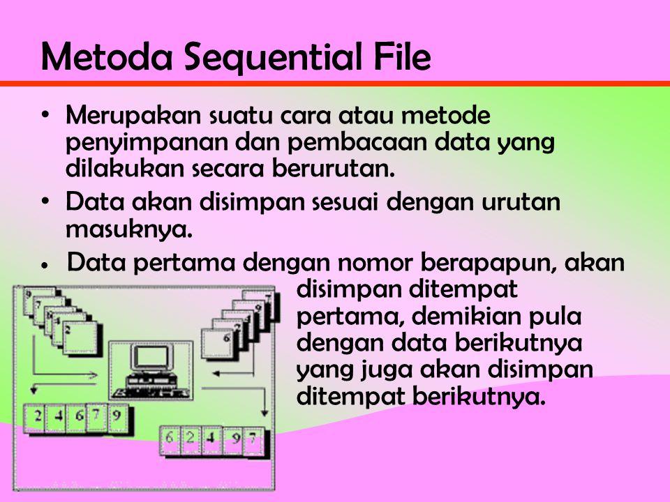 Metoda Sequential File • Merupakan suatu cara atau metode penyimpanan dan pembacaan data yang dilakukan secara berurutan.