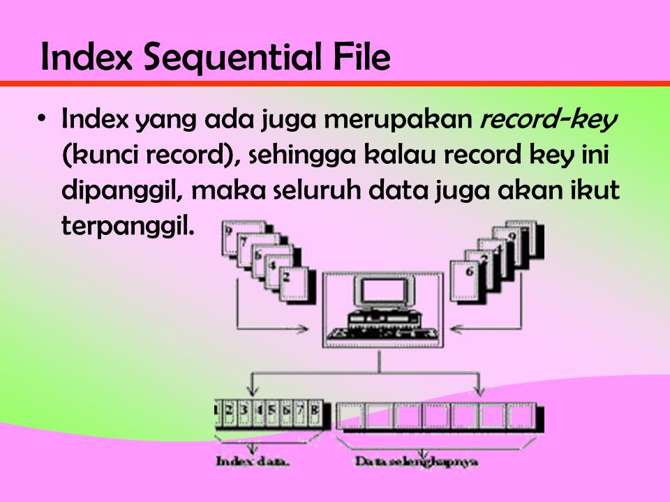 Index Sequential File • Index yang ada juga merupakan record-key (kunci record), sehingga kalau record key ini dipanggil, maka seluruh data juga akan ikut terpanggil.