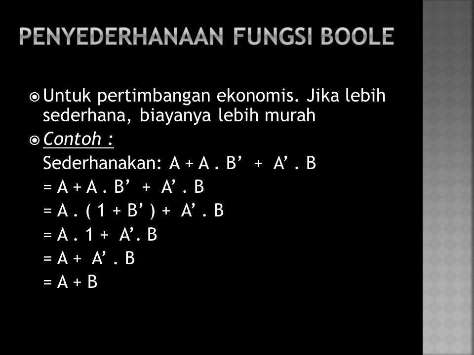  Untuk pertimbangan ekonomis. Jika lebih sederhana, biayanya lebih murah  Contoh : Sederhanakan: A + A. B' + A'. B = A + A. B' + A'. B = A. ( 1 + B'