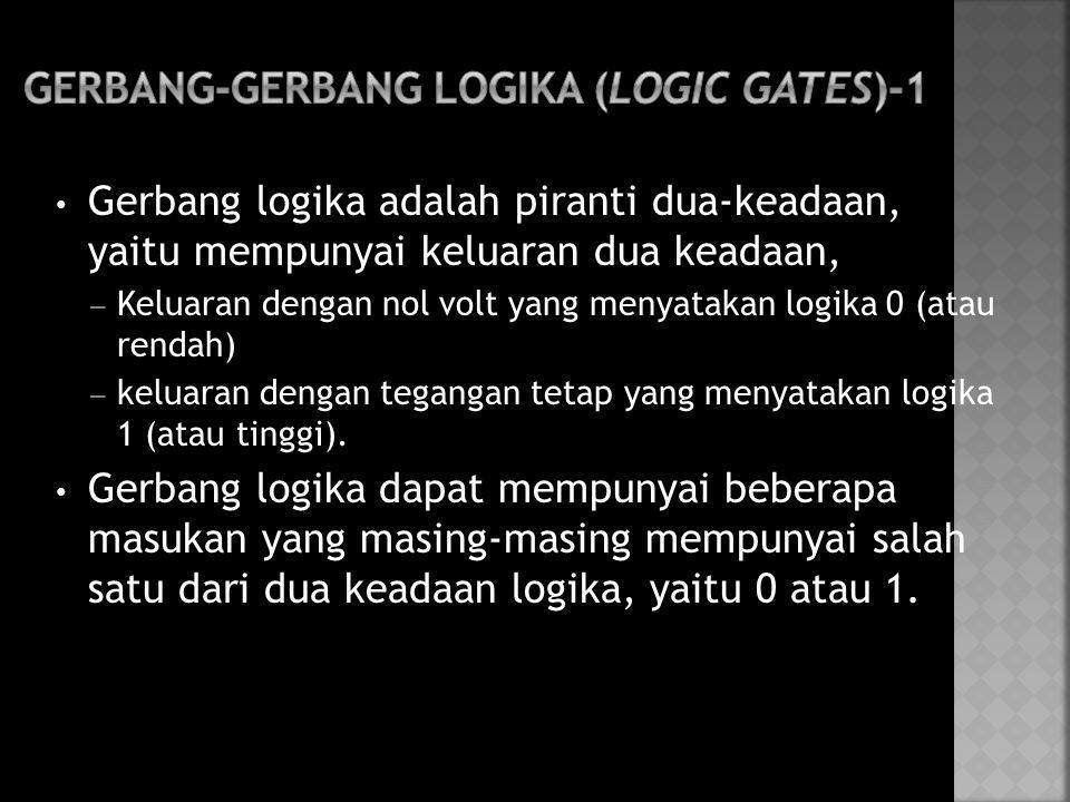 • Gerbang logika adalah piranti dua-keadaan, yaitu mempunyai keluaran dua keadaan, – Keluaran dengan nol volt yang menyatakan logika 0 (atau rendah) –