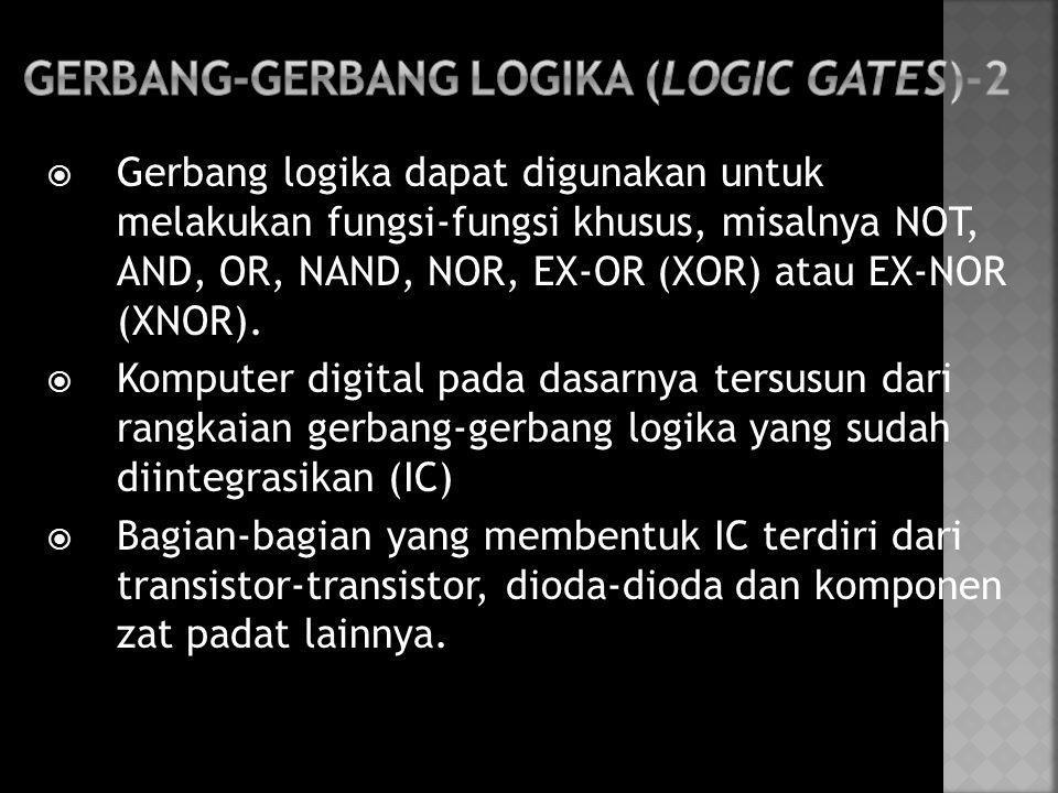  Gerbang logika dapat digunakan untuk melakukan fungsi-fungsi khusus, misalnya NOT, AND, OR, NAND, NOR, EX-OR (XOR) atau EX-NOR (XNOR).  Komputer di