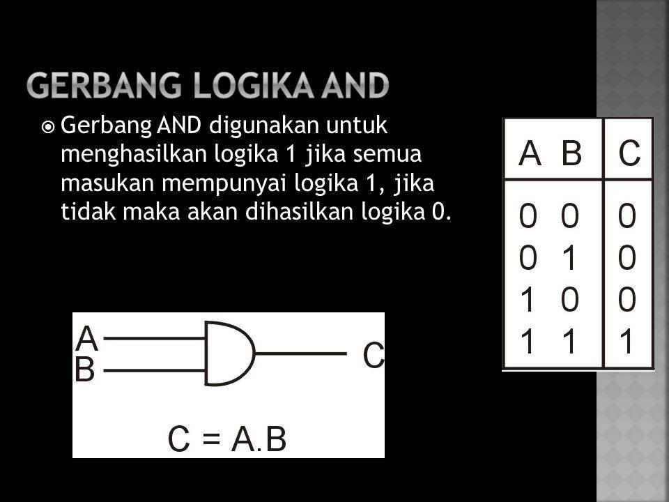  Gerbang AND digunakan untuk menghasilkan logika 1 jika semua masukan mempunyai logika 1, jika tidak maka akan dihasilkan logika 0.