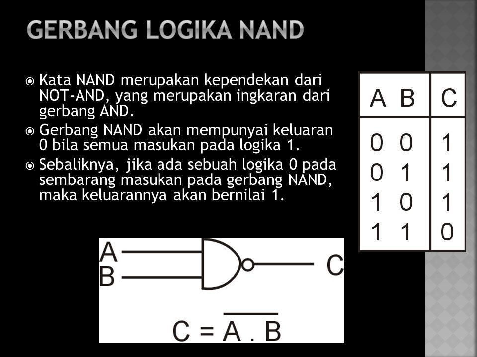  Kata NAND merupakan kependekan dari NOT-AND, yang merupakan ingkaran dari gerbang AND.  Gerbang NAND akan mempunyai keluaran 0 bila semua masukan p