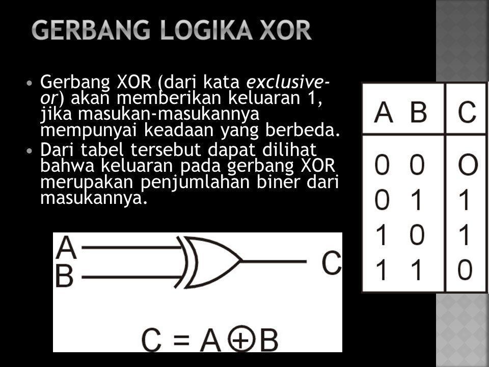  Gerbang XOR (dari kata exclusive- or) akan memberikan keluaran 1, jika masukan-masukannya mempunyai keadaan yang berbeda.  Dari tabel tersebut dapa