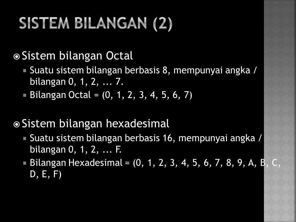  Sistem bilangan Octal  Suatu sistem bilangan berbasis 8, mempunyai angka / bilangan 0, 1, 2,... 7.  Bilangan Octal = (0, 1, 2, 3, 4, 5, 6, 7)  Si
