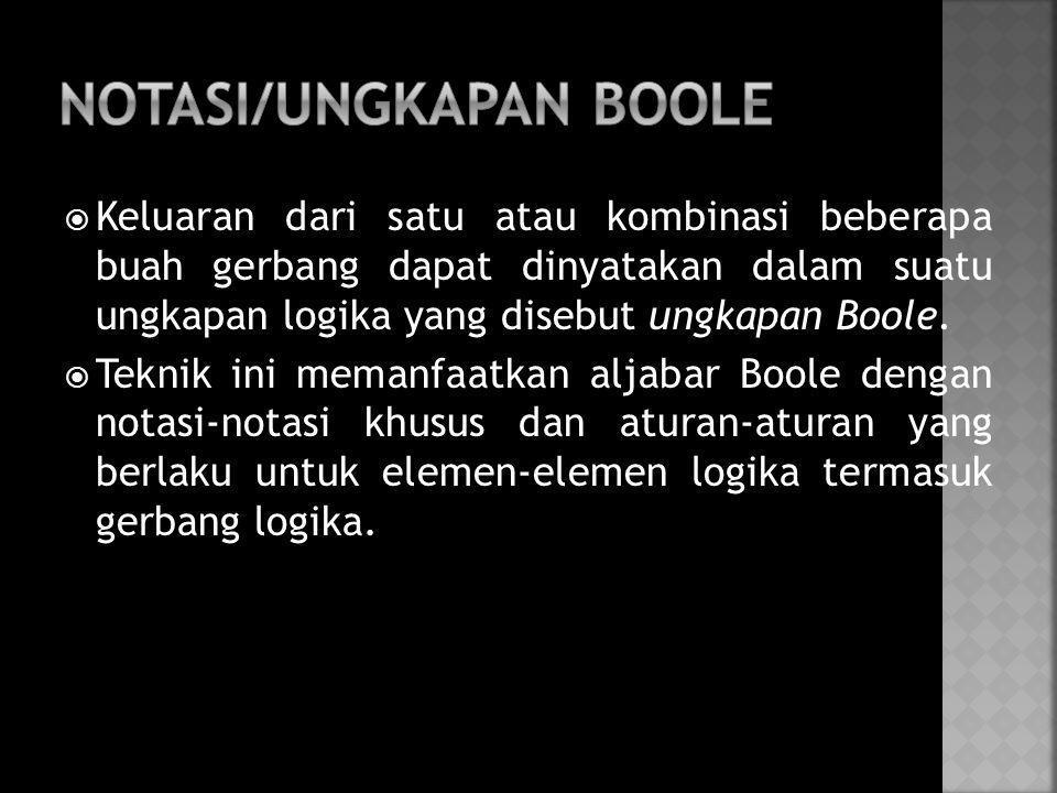  Keluaran dari satu atau kombinasi beberapa buah gerbang dapat dinyatakan dalam suatu ungkapan logika yang disebut ungkapan Boole.  Teknik ini meman