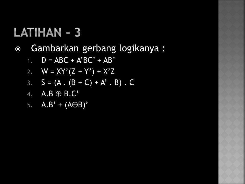  Gambarkan gerbang logikanya : 1. D = ABC + A'BC' + AB' 2. W = XY'(Z + Y') + X'Z 3. S = (A. (B + C) + A'. B). C 4. A.B  B.C' 5. A.B' + (A  B)'