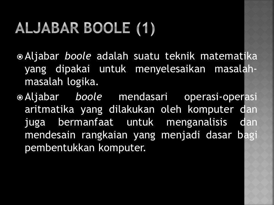  Aljabar boole adalah suatu teknik matematika yang dipakai untuk menyelesaikan masalah- masalah logika.  Aljabar boole mendasari operasi-operasi ari