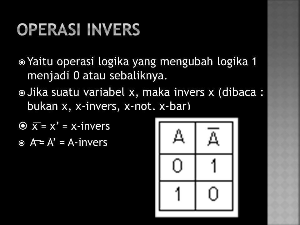  Yaitu operasi logika yang mengubah logika 1 menjadi 0 atau sebaliknya.  Jika suatu variabel x, maka invers x (dibaca : bukan x, x-invers, x-not, x-