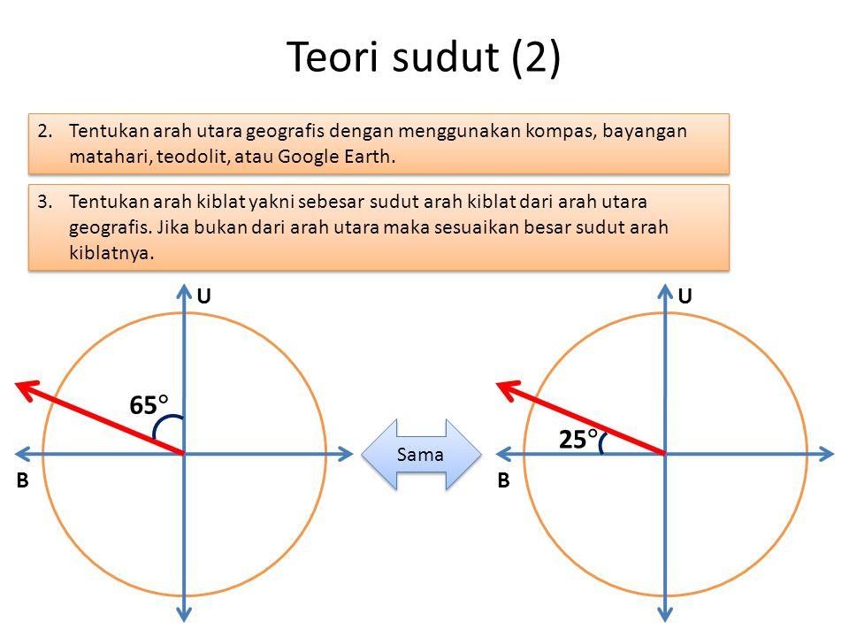 65  U B Teori sudut (2) 2.Tentukan arah utara geografis dengan menggunakan kompas, bayangan matahari, teodolit, atau Google Earth.