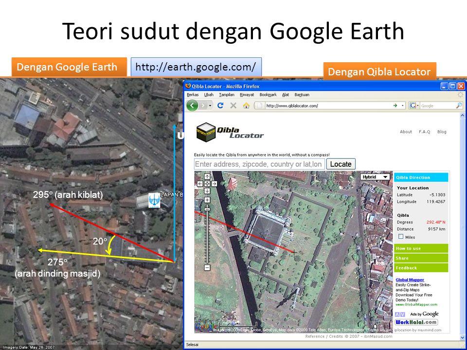http://earth.google.com/ Dengan Google Earth Teori sudut dengan Google Earth 275  (arah dinding masjid) 295  (arah kiblat) Teknik: 1.Peroleh masjid yang dituju.