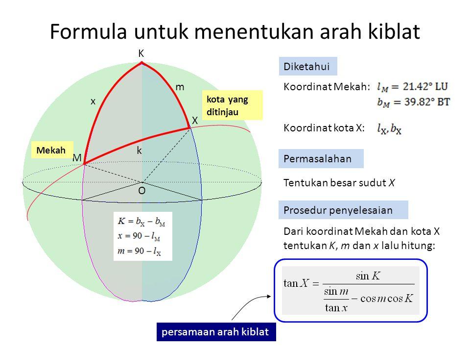 Formula untuk menentukan arah kiblat K M X m x k Tentukan besar sudut X Permasalahan Prosedur penyelesaian kota yang ditinjau Mekah Koordinat Mekah: Koordinat kota X: Diketahui Dari koordinat Mekah dan kota X tentukan K, m dan x lalu hitung: persamaan arah kiblat O