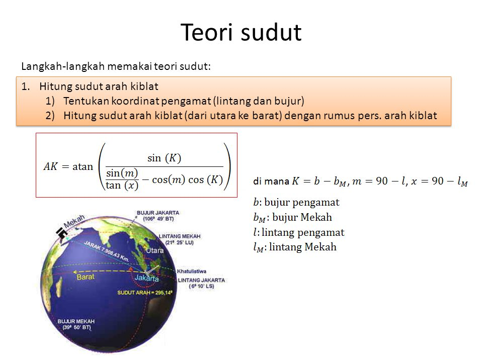 1.Hitung sudut arah kiblat 1)Tentukan koordinat pengamat (lintang dan bujur) 2)Hitung sudut arah kiblat (dari utara ke barat) dengan rumus pers.