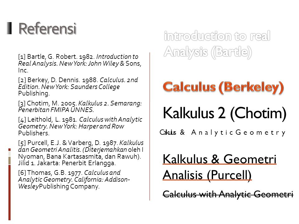 Referensi [1] Bartle, G.Robert. 1982. Introduction to Real Analysis.