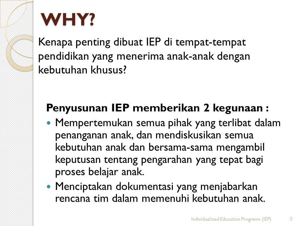 WHY? Penyusunan IEP memberikan 2 kegunaan :  Mempertemukan semua pihak yang terlibat dalam penanganan anak, dan mendiskusikan semua kebutuhan anak da