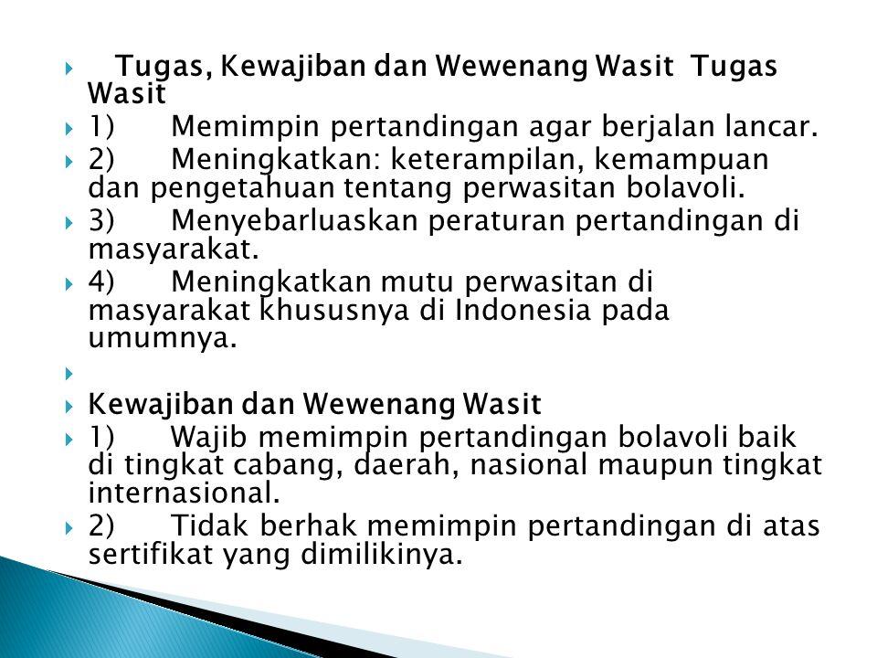  Prosedur Mewasiti  Wasit 1 dan 2 yang diperbolehkan meniup peluit selama pertandingan.