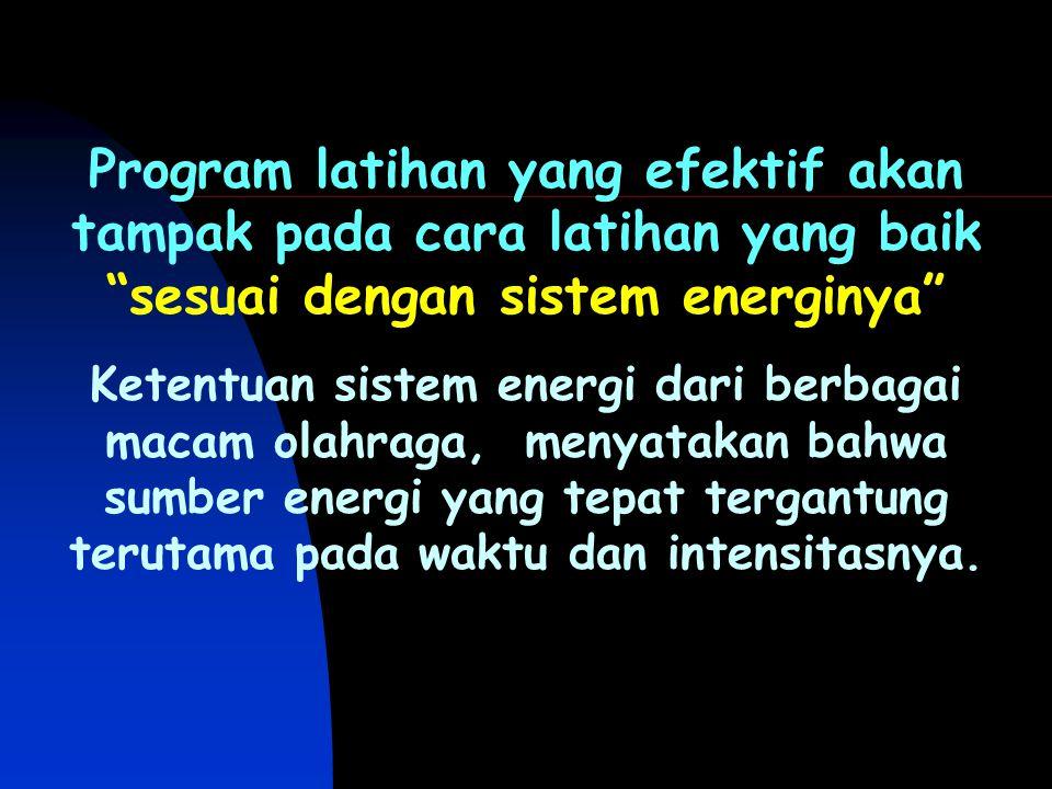 """Program latihan yang efektif akan tampak pada cara latihan yang baik """"sesuai dengan sistem energinya"""" Ketentuan sistem energi dari berbagai macam olah"""